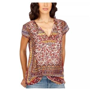 Lucky Brand Printed V Neck Pullover Blouse